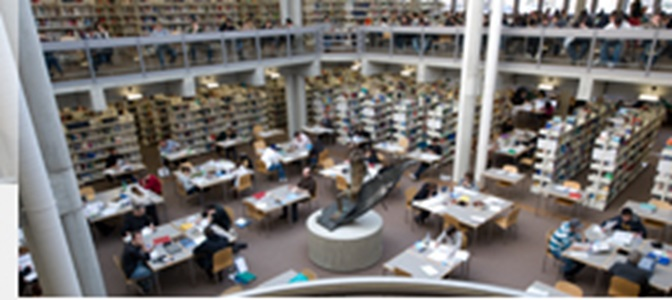 Perspective view of many working students at their desks in the university library.